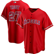 Mike Trout La Angels Baseball Jersey - Red Color Xs-4xl