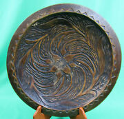 Antique Vintage Japanese Hand Made/carved Wood Round Tray Dark Brown Signed