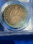 1871 1 Pcgs Au Detail Seated Liberty Silver Dollar Gorgeous Toning