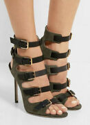 Jimmy Choo Trick 85 Army Green Sandel Size 35 Great To Perfect Conditionandnbsp