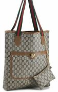 Auth Gg Plus Web Sherry Line Shoulder Tote Bag Pvc Leather Brown C4800