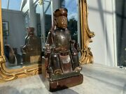 19th Century Or Earlier Chinese Carved And Polychrome Seated Dignitary. Old Label