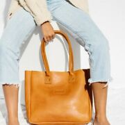 Parker Clay Merkato Natural Leather Tote Rust Brown Nwt 188