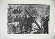 Old Antique Print 1884 Presidential Canvass America Pole-raising People 19th
