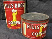 Vintage Hills Brothers Coffee Cans Lot Of 2 One Pound With Lid And 2 Pound