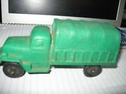 Vintage Us Army Covered Truck 656 Toy Rubber Green Auburn Made Usa Old
