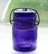 Antique Pint Size The Smalley Self Sealer Purple Fruit Canning Jar Free Ship