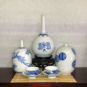 Collection Of Japanese Arita Hirado Blue And White Porcelain Tokkuri Bottle And Cups