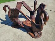 Antique Carved Swan Table 3 Full Swans 30 Tall