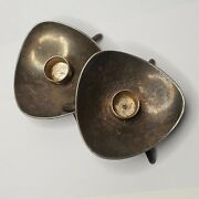 Vintage Antique Silver Plated Cohr Alta Denmark 2 Candle Holders Triangle Shaped