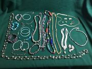 Junk Drawer Lot Of 28 Costum Jewelry Bracelets Necklace Earings Gold Plated Gems