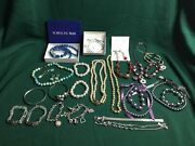 Junk Drawer Lot Of 27 Jewelry Necklaces Wristbands Metal Stones Gems Plastic