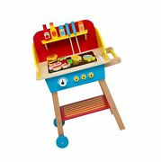 Cook 'n Grill Wood Toy Bbq Set - Includes Pretend Play Wooden Barbeque Food A...