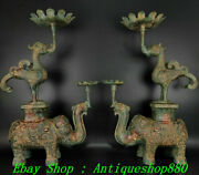24shang Zhou Dynasty Bronze Ware Phonix Elephant Candle Holder Candlestick Pair