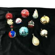 Lot Of 10 Antique And Vintage Mercury Glass Christmas Ornaments Victorian