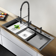 Asras 11850nt Black Nano Large Kitchen Sink Set With Multi-functional Pullout Fa
