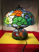Style Stained Glass Lamp Shade And Base Table Lamp Dragonfly Floral Rare