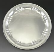 Antique C1937 Art Deco Stone Assoc. Sterling Silver Round Platter Tray 10