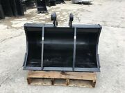 New 36 Ditch Bucket For A Yanmar Vio45 W/ Pins And Bolt On Edge