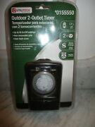 New Utilitech Outdoor 2 Outlet Timer 48 On/off Settings. Rain-tight Cover Nip