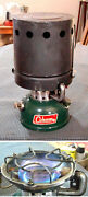Gorgeous Coleman 502 Camping Stove, Heat Drum, Homemade Carrying Case June 1965