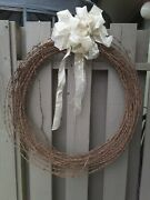 Antique Vintage Country Primitive Wreath 30 Rusty Crusty Barbed Wire Barbwire