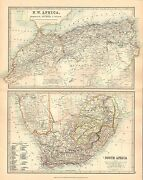 1911 Large Victorian Map North West Africa Algeria Morocco Tunis South Africa
