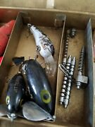 Vintage Tackle Box Fishing Lures Boobers Knife Other. Worms Ick