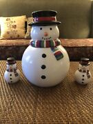 Snowman Cookie Jar And Matching Salt And Pepper Shakers