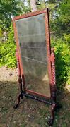Antique Solid Mahogany Full-length Cheval Dressing Mirror Ball And Claw Stunning