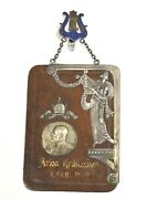 Original 1908 Germany Large Leather And Enamel Pin Badge Medal Gm-118
