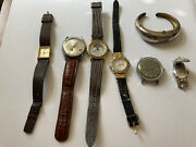 Lot Of Seven Vintage Wrist Watches As Is Timex Harman Andre Bouchard