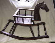 Vintage Rocking Horse Chair Child Baby Toddler Antique Turned Carved Wood