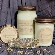 Highly Scented Soy Wax Candle - Hand Poured - White Sage And Lavender