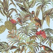 Floral Tropical Palm Leaves Blue Green Birds Faux Fabric Textured Wallpaper Roll
