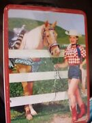 Tin Cowgirl Western Lunch Box Dale Evans Free Shipping 2001 Reproduction