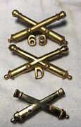Lot Vintage Artillery Crossed Cannons Insignia Military Hat Badge Pin W/unit