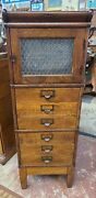 Antique Oak Globe Library Bureau File Stacking Office Cabinet 6 Drawer 1 Door