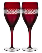 Waterford John Rocha Red Cut Crystal Red Wine Set/2 Glasses 40008457 New In Box