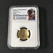 Apollo 11 50th Anniversary Gold Coin 2019 W First Day Issue Ngc Ms 70
