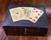 Vintage Brook's Sewing Thread Spool Box Rare Queen Heart Cards Poker
