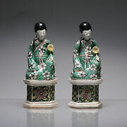 Pair Antique Kangxi Chinese Porcelain Statues China Famille Verte Biscuit Imm...