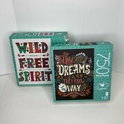 Lot Of 2 Jigsaw Puzzles With Inspirational Sayings Quotes, 750 Pieces, New