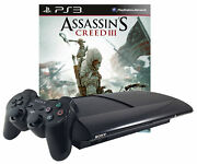 Refurbished Sony Playstation 3 Ps3 Super Slim 500gb And Assassin's Creed Iii 3