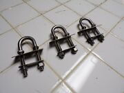 Vintage Stainless 4 Boat Bow Stern Eye U-bolt Pad 3/8 Marine Plate Lot Of 3