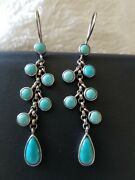 Rare Vintage Robinand039s Egg Blue Bezel Wrapped Turquoise W Delicate Soldered Chains