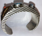 Great Vintage Navajo Or Hopi Sterling Silver Turquoise And Coral Cuff Bracelet