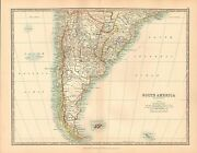 1911 Large Victorian Map Southern South America Falkland Islands Laplata