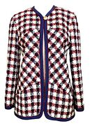 Boucle One Button Jacket In Navy Burgundy And Ivory Very Pretty 40 / 6