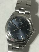 Rolex Air King 5500 Original Rare Blue Gray Dial Automatic Vintage Watch 1972and039s
